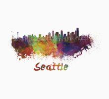Seattle skyline in watercolor Baby Tee