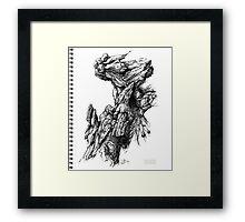 Rock Facade - Sketch Pen & Ink Illustration Art Framed Print