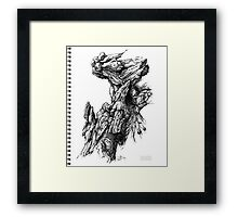 Rock Facade - Sketch Pen & Ink Illustration Art Framed Print