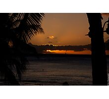 Sunset over Waikiki Photographic Print
