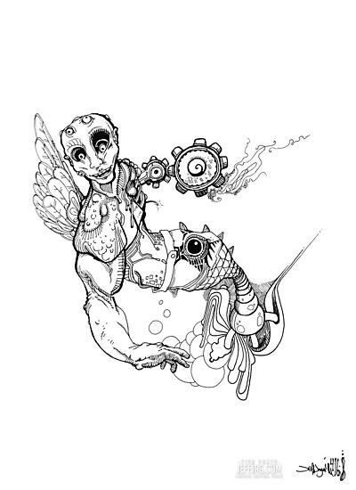 Fish Pants - Sketch Pen & Ink Illustration Art by jeffjag