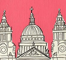 St Paul's Facade ( Pink ) by Adam Regester