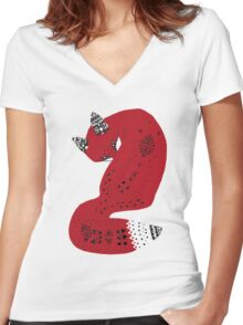 Red Tribal Fox Women's Fitted V-Neck T-Shirt