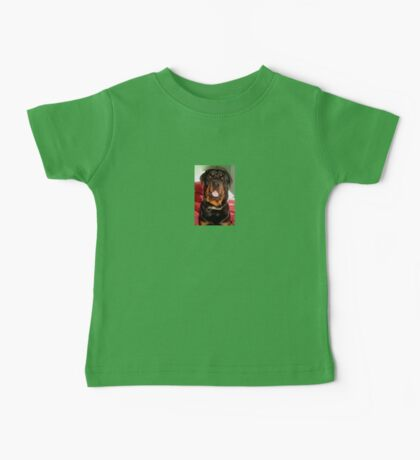 Portrait Of A Young Rottweiler Male Dog Baby Tee