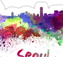 Seoul skyline in watercolor Sticker