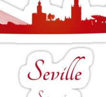 Seville skyline in red Sticker