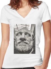 Classic Greek Bust Women's Fitted V-Neck T-Shirt