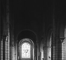 Nave and altar C12 St Pierre Carennac 198402270064 by Fred Mitchell