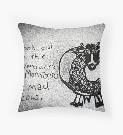 Mad Cow Monsanto Throw Pillow