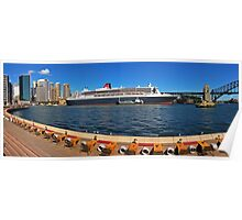Queen Mary 2 at Circular Quay Panorama (from Opera House Concourse) Poster