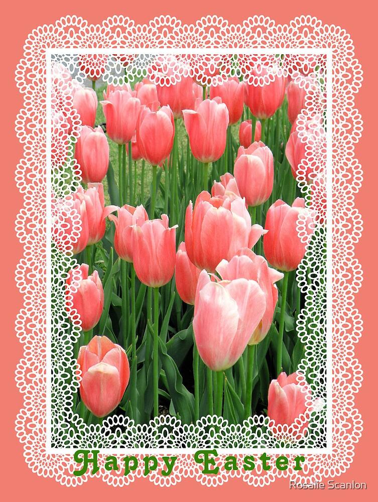 Peachy Tulips Easter Card by Rosalie Scanlon