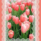 Peachy Tulips Easter Card by Rosalie Scanlon