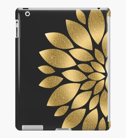 Pretty gold faux glitter abstract flower illustration  iPad Case/Skin