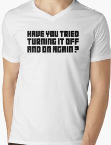 Turning It Off Mens V-Neck T-Shirt