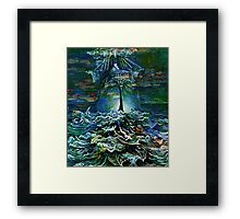 ALONE ON THE BRIDGE AT HIGH SEA Framed Print