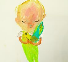 green girl with bird by donnamalone