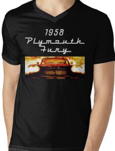 Christine - 1958 Plymouth Fury (White Font) Mens V-Neck T-Shirt