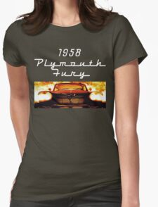 Christine - 1958 Plymouth Fury (White Font) Womens Fitted T-Shirt