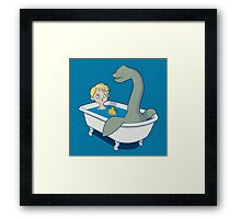 There's something in my bath!! Framed Print