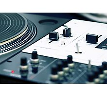 Turntable and sound mixer Photographic Print