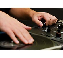DJ playing vinyl record with music Photographic Print