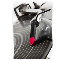 Turntable playing vinyl record with music Poster