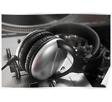 Headphones on a turntable Poster