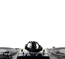 Turntables,mixer and headphones isolated on white by hurricanehank