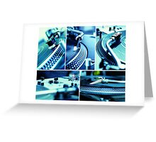 Collage of vinyl & turntables Greeting Card