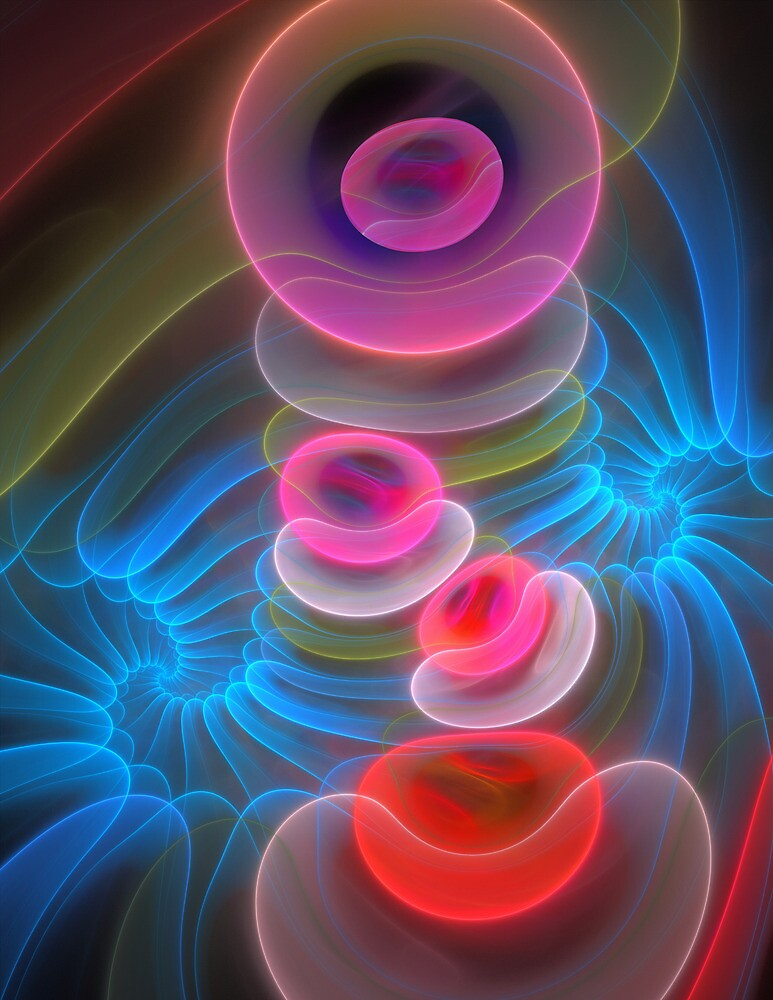 Neon Spirals and Bubbles, abstract fractal art by walstraasart