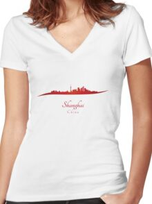 Shanghai skyline in red Women's Fitted V-Neck T-Shirt