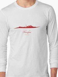 Shanghai skyline in red Long Sleeve T-Shirt