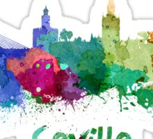 Seville skyline in watercolor Sticker