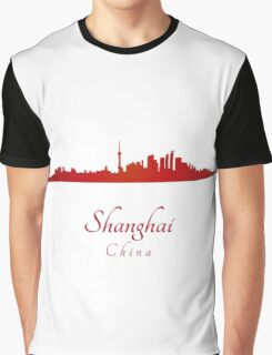 Shanghai skyline in red Graphic T-Shirt