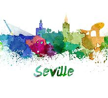 Seville skyline in watercolor by paulrommer