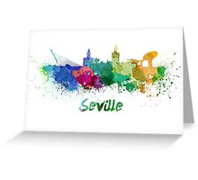 Seville skyline in watercolor Greeting Card