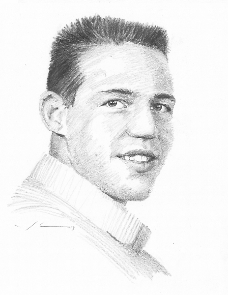 Dad in high school drawing by Mike Theuer