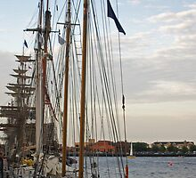 Tall Ships At Dock Side by Tina Hailey