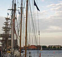 Tall Ships At Dock Side by Tina Hailey