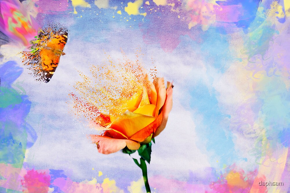 Rose And A Butterfly Gone With The Wind by daphsam