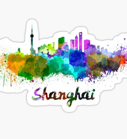Shanghai skyline in watercolor Sticker