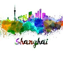 Shanghai skyline in watercolor by paulrommer