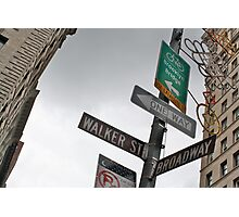 Broadway/Walker St Sign Photographic Print