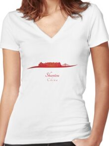 Shantou skyline in red Women's Fitted V-Neck T-Shirt