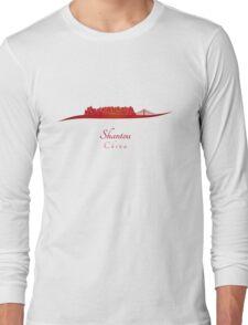 Shantou skyline in red Long Sleeve T-Shirt