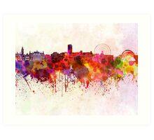 Sheffield skyline in watercolor background Art Print