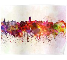 Sheffield skyline in watercolor background Poster