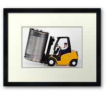 Forklift and tin can Framed Print
