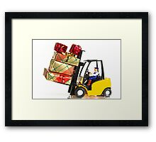 Fork lift and Christmas gifts Framed Print