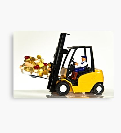 Fork lift and drugs Canvas Print
